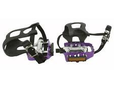 Purple 9/16 Alloy Road Bike Bicycle Fixie Track Pedals w/ Toe Clips, Cage Straps