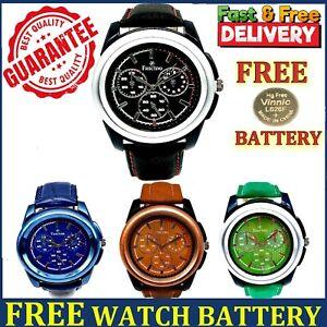 Mens Watches Gent Wrist Watch Leather Sport Quartz Analogue Casual Fashion Watch