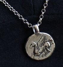 SOLID STERLING SILVER PEGASUS COIN Ancient Greek Corinth on CHAIN NECKLACE SHM