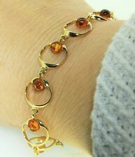 Yellow Gold on 925 Sterling Silver Cognac Amber Bead Circle Link Bracelet