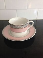 RALPH LAUREN SILK RIBBON PINK Fine China Flat Cup and Saucer Set