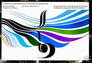 Original Vintage Poster Barcelona Music Festival Blue Mid Century Abstract Art