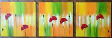 Peinture de Norma ROY Triptyque Coquelicots