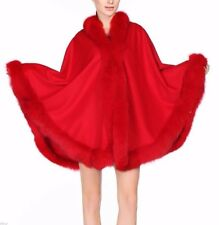 Red Cashmere Cape Wrap Shawl with Fox Fur Trim