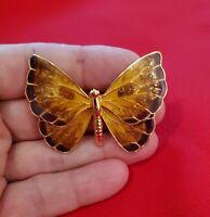 Vintage Cloisonne Enamel Autumn Colors Butterfly Brooch Pin ***EUC***