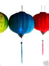 "VIETNAMESE ORIENTAL SILK & BAMBOO HANDCRAFTED LANTERN LAMP chinese blue 20"" L v1"