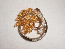 Crown Trifari Brooch Pin Amber & Clear Rhinestone Circle Pin