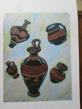 "Archaeological-style Art Print, 'Ancient Vases', 11"" x 14"" black"