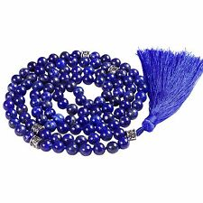 Lapis Mala Prayer Beads, 108 mala necklace, knotted mala necklace, Buddha beads