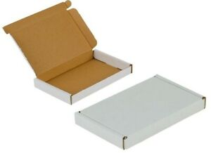 BOX Flat Boxes White Cardboard 190x96x17mm internal Large Letter Mail Postal