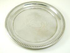 ROUND silver plate vassoio enbossed CARTIGLIO Pattern 211.2 GRAMMI ART DECO