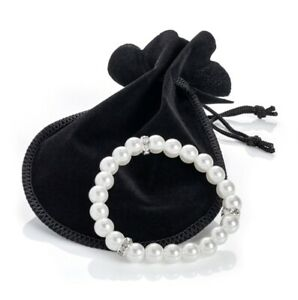 Womens White Pearl Bead Stretchy Bracelet Crystal Detail