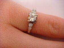 ANTIQUE 14K 2 TONE GOLD DIAMOND ENGAGEMENT RING WITH 0.25 CT GENUINE DIAMONDS
