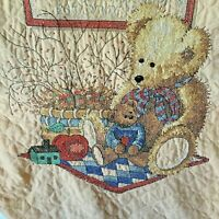 Vintage Baby Crib Quilt Cross Stitched Bears with Sampler / Wall Hanging