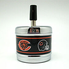 Push Down Spin Top Metal Ashtray - Chicago Bears