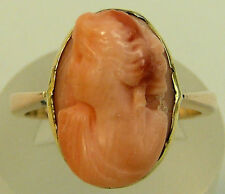 ANTIQUE YELLOW AND ROSE GOLD FINELY CARVED CORAL CAMEO RING, SIZE M, 3.3 GRAMS.