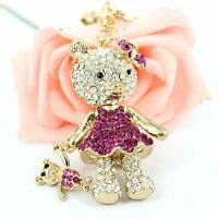 Bear Mother Hold Baby Rhinestone Crystal Charm Pendant Puse Bag Car Key Chain