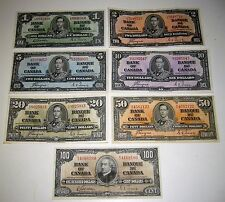 1937 Bank of Canada Set of 7 Notes, $1-$100 Complete Set