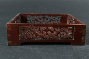 #3171: Japanese Old Wooden Lacquer ware Watermarks sculpture WOODEN TRAY/plate