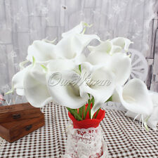 10 White Artificial Calla Lily Latex Real Touch Wedding Home Bouquet Decoration