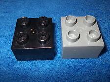 LEGO DUPLO RITTERBURG 2 X 4er NOPPEN STEIN 4777 + 4988 + 4785 GRAU SCHWARZ