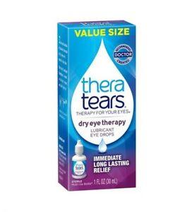 Thera Tears Dry Eye Lubricant Eye Drops VALUE SIZE 1oz / 30ml Exp.4/2022