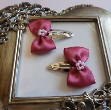 girls hair clips snap clips slides bendies  hair clip dusky pink bows