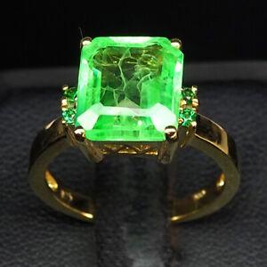 EMERALD GREEN OCTAGON 6 CT. GARNET 925 STERLING SILVER GOLD RING SZ 6.5 GIFT