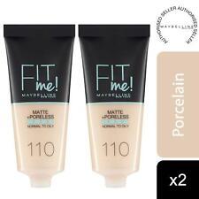 2pk Maybelline Fit Me Matte & Poreless Liquid Foundation, 110 Porcelain 30ml