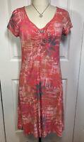 Fresh Produce Stretch Shift Cap Sleeve Dress Coral Print Size XSmall