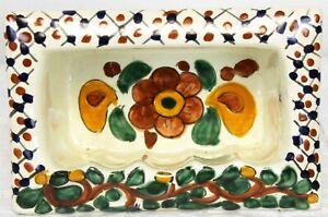 Mexican Talavera Bathroom Soap Cubby Holder Wall Mount Ceramic Vines Blue