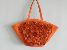 Paolo Masi Tote Bag 3D Flower Leather panel Canvas Coral 9x16x4.5