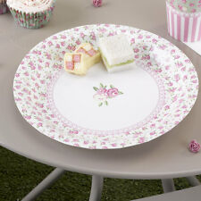 8 x Vintage Style Paper Plates pretty floral vintage plates pink roses frills