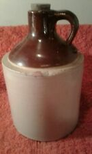 "Antique Stoneware Pottery Moonshine Jug Ivory Brown 9.5"" x 5.5"" Rustic Farmhouse"