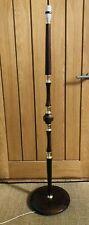 Vintage 70's Teak? Wood & Brass Effect Standard Floor Lamp 129cm tall
