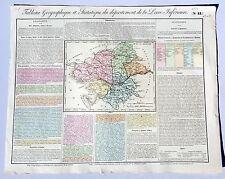 Dépt 44- Rare Carte Géographique & Statistique Loire Atlantique Aquarellée 1826