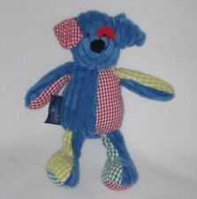"Mud Pie Puppy Plush Baby Lovey Blue Red Patchwork 10"" Rattle Mudpie"