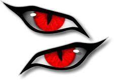 Pair Of EVIL Eyes Eye RED Iris vinyl car Motorbike Helmet Drone Sticker 70x30mm