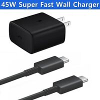 For Samsung S21 Ultra S20 Note 10 Plus 45W Super Fast Wall Charger Type-C Cable
