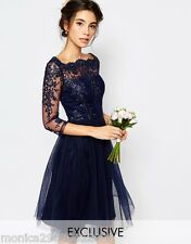 Chi Chi London Dress Bardot Neck Midi with Lace and Tulle UK 14 16