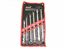 6pcs Long Double Ring Flexible Ratchet Spanner Gear Wrench Set 8-19mm Pouch