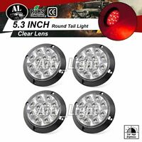 """4 pcs Clear / Red 4"""" 12 LED Round Stop Brake Lorry Trailer Marker Tail Light 12V"""