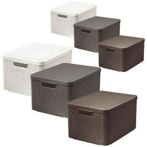 CURVER Aufbewahrungsbox mit Deckel Rattan Ordnungsbox 30L 18L 6L  Farben