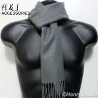 Men's Women's Solid Gray Cashmere Feel Soft Cozy Scarf*100%Acrylic