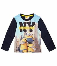 Boys Kids Official Licensed Disney Various Character Long Sleeve T Tee Shirt Top Minions #7 5 - 6 Years