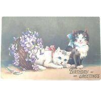 Adorable Vintage Cat Kittens Bows Flowers Birthday Postcard