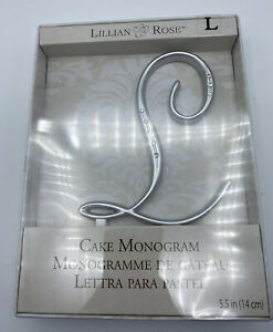 "NIB Lillian Rose Cake Topper Monogram L 5.5"" Silver Rhinestone Wedding"