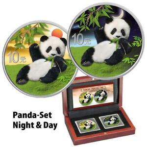 China - 2 x 10 Yuan 2020 - Panda - Night & Day - Satz - 2 x 30 gr. Silber ST
