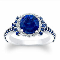 1.72Ct Diamond Blue Sapphire 14K White Gold Gemstone Ring Size 8