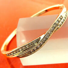 FSA285 GENUINE REAL 18K G/F GOLD SOLID DIAMOND SIMULATED CUFF BANGLE BRACELET